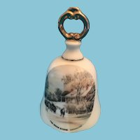 1960s Currier and Ives Fine China Dinner Bell