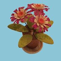 Circa 1980s Miniature Balsa Wood Pink Gerbera Daisy Flowers in a Pot