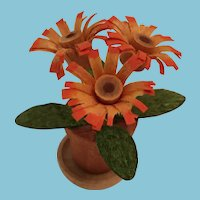 Circa 1980s Miniature Orange Balsa wood Gerbera Daisy Flowers in a Pot