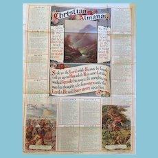 "1914 Unframed 15"" x 26"" Christian Almanac Wall Sheet"