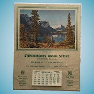 'Mint' 1957 Drug Store Calendar with a Picture of St. Mary's Lake