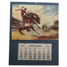 Mint' 1955 Bucking Horse Rodeo Calendar by Georges Menendez Rae