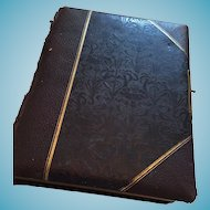 Embossed Brown Leather Victorian Photo Album with Photographer Portraits and Tintypes