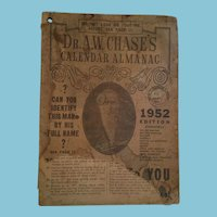 Dr A W Chase 1952 Calendar Almanac