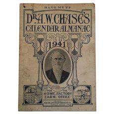 Dr A W Chase 1941 'Hang Me Up' Calendar Almanac