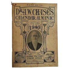 Dr A W Chase 1940 'Hang Me Up' Calendar Almanac