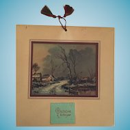 Like New Matted 1955 calendar with a Country Winter Scene