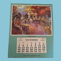 1954 George Menendez Rae Country Farm Calendar