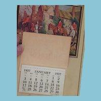 1937 'Twelve Months of Happiness' Fox Hunt Calendar