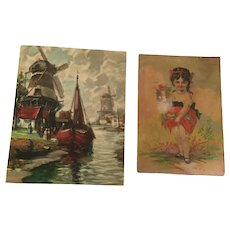 Two Full-Color Prints of a Girl and of a Windmill
