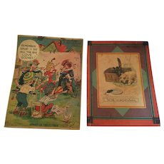 Two Circa 1930s full-color Movie and Dog Notebook Cover Prints