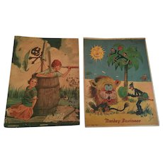 Circa 1930s Two Full-color Notebook Cover Prints