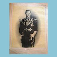 Circa 1930s Royalty Print of H.M. King Edward Before Abdication
