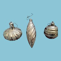 Circa 1950s - 60s Group of Three Silver-colored Christmas Tree Ornaments