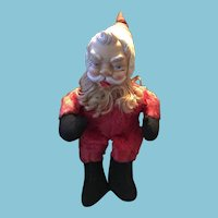 Circa 1957 Rushton Toy Company Rubber-Faced Red Plush Santa Claus