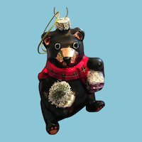 Blown Glass Black Bear Christmas Tree Ornament