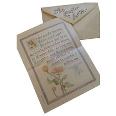 Circa 1910 Sweet Folding Easter Card/Letter and Envelope