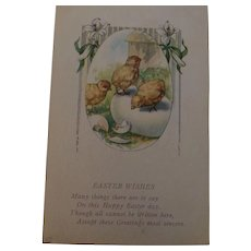 Circa 1922 Sweet Easter Postcard of Three Baby Chicks