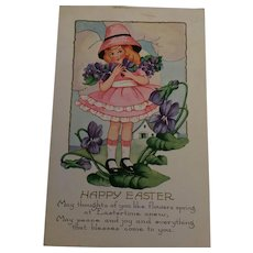 Circa 1920s Sweet Easter Postcard of a Girl with Violets