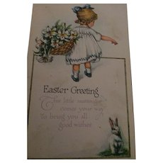 Circa 1920s Sweet Easter Postcard of Little Girl with Lillies