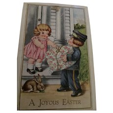 Circa 1920s Sweet Easter Postcard with cute Postman Delivering