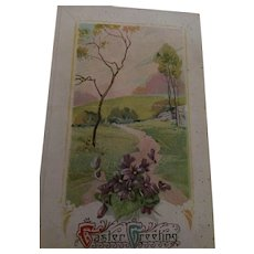 Circa 1920s Sweet Easter Postcard of a Walk in Nature