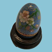 Chinese Cloisonné Egg Shaped Trinket Pot on a Wooden Stand