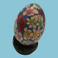 Chinese Cloisonné Egg Shaped Ornament on a Wooden Stand