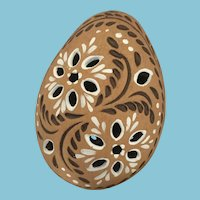 Carved Clay Painted Hollow Egg