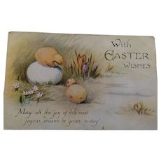 1922 Sweet Easter Chicks Postcard Copyright in Series 164-12