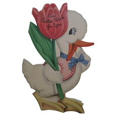 Circa 1920s Sweet Easter Cutout Duck Shaped Folding Card