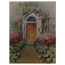 Circa 1920s Sweet Easter Postcard in a Garden with Wisteria