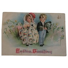Circa 1900s Easter Card with a Sweet Children in a Garden