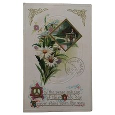Circa 1911 Sweet Easter Postcard with Daisies