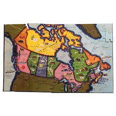 Circa 1950s Jigsaw Puzzle Map of the Dominion of Canada.
