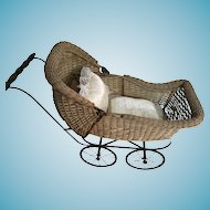 Cream Colored Wicker Doll Buggy Shown in 1929 Woodward's Catalogue