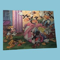 Marked 1948 Jaymar Bantam Picture Puzzle of the Disney characters Celebrating Mickey's Birthday