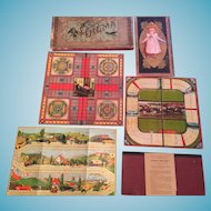 Circa 1900-1910s Assortment of Six Family Board Game Boards