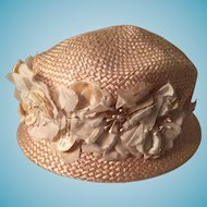 Vintage Lady's Peach Colored Straw Bowler Hat