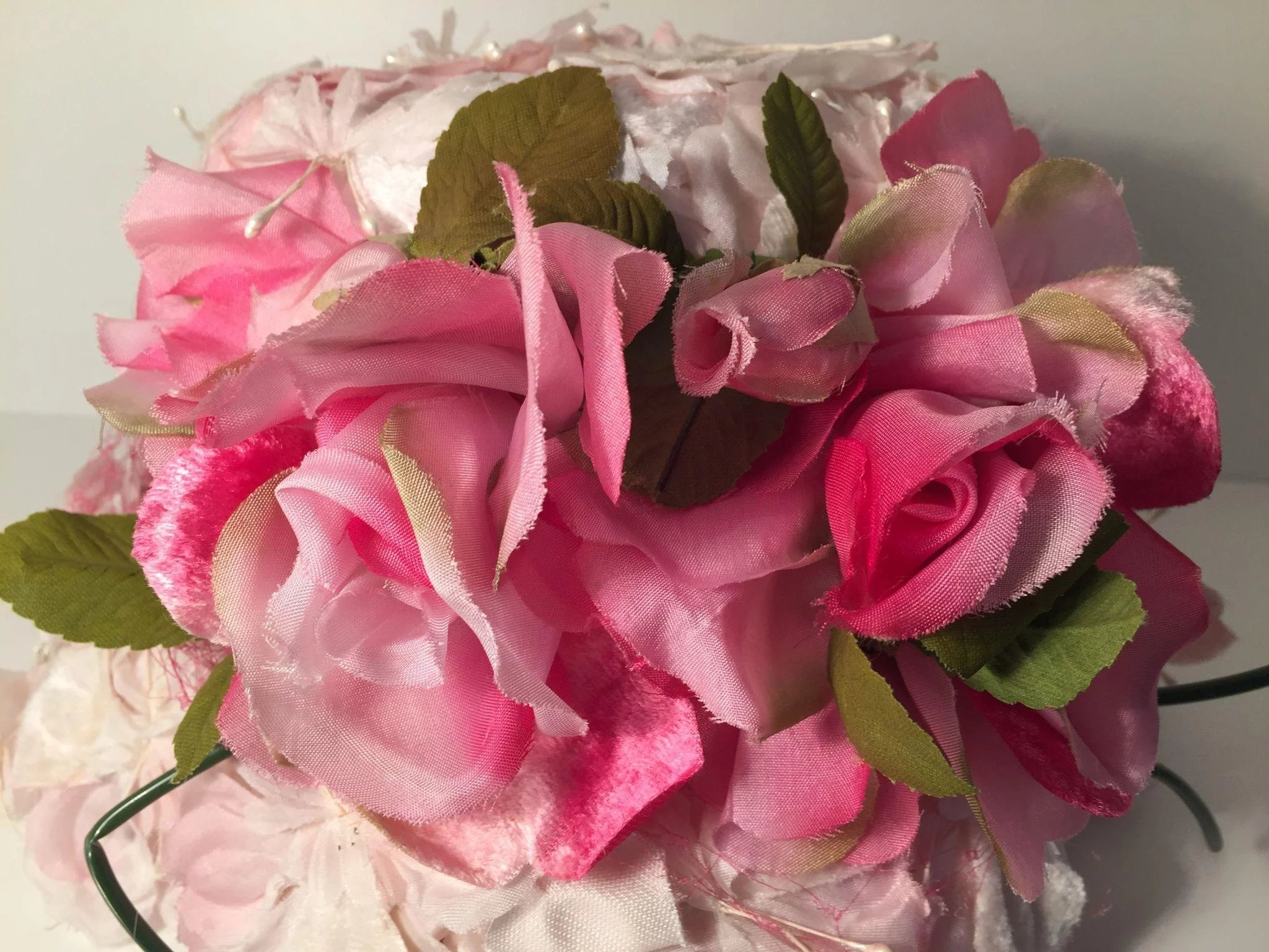 Vintage Pink And White Flower Covered Ladys Bowler Hat Precious