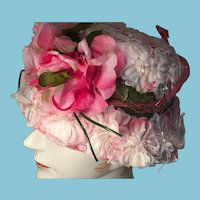 Vintage Pink and White Flower Covered Lady's Bowler Hat