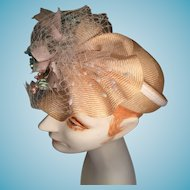 Vintage Silk and Satin Ecru Colored Modified Pillbox Hat