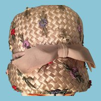 Lady's Modified Bowler Straw Hat with Flowers