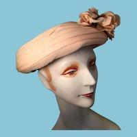 Peach Colored Lady's Organza Modified Sailor Hat
