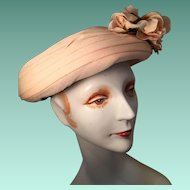 Peach Colored Lady's Organza Modified Sailor Hat