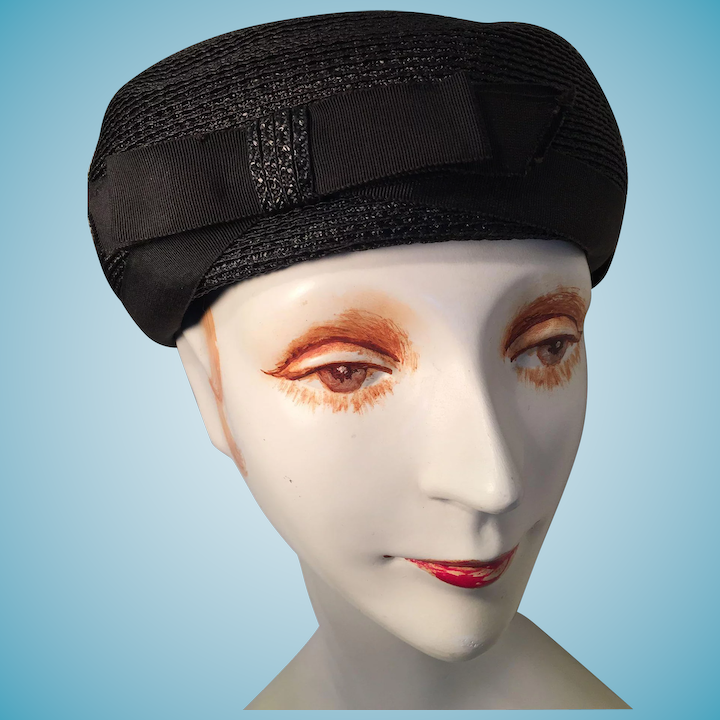 'Jackie Kennedy' Pillbox Hat with Maker's label