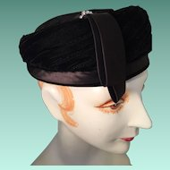 Black Velvet Pillbox Hat with Rhinestone Trim and Label