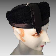 Black Velvet Pillbox Hat with Rhinestone Trim and Label