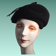 Jaunty Black Velvet Modified Beret Lady's Hat