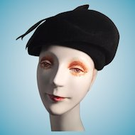 Jaunty Black Velvet Modified Beret Lady's Hat